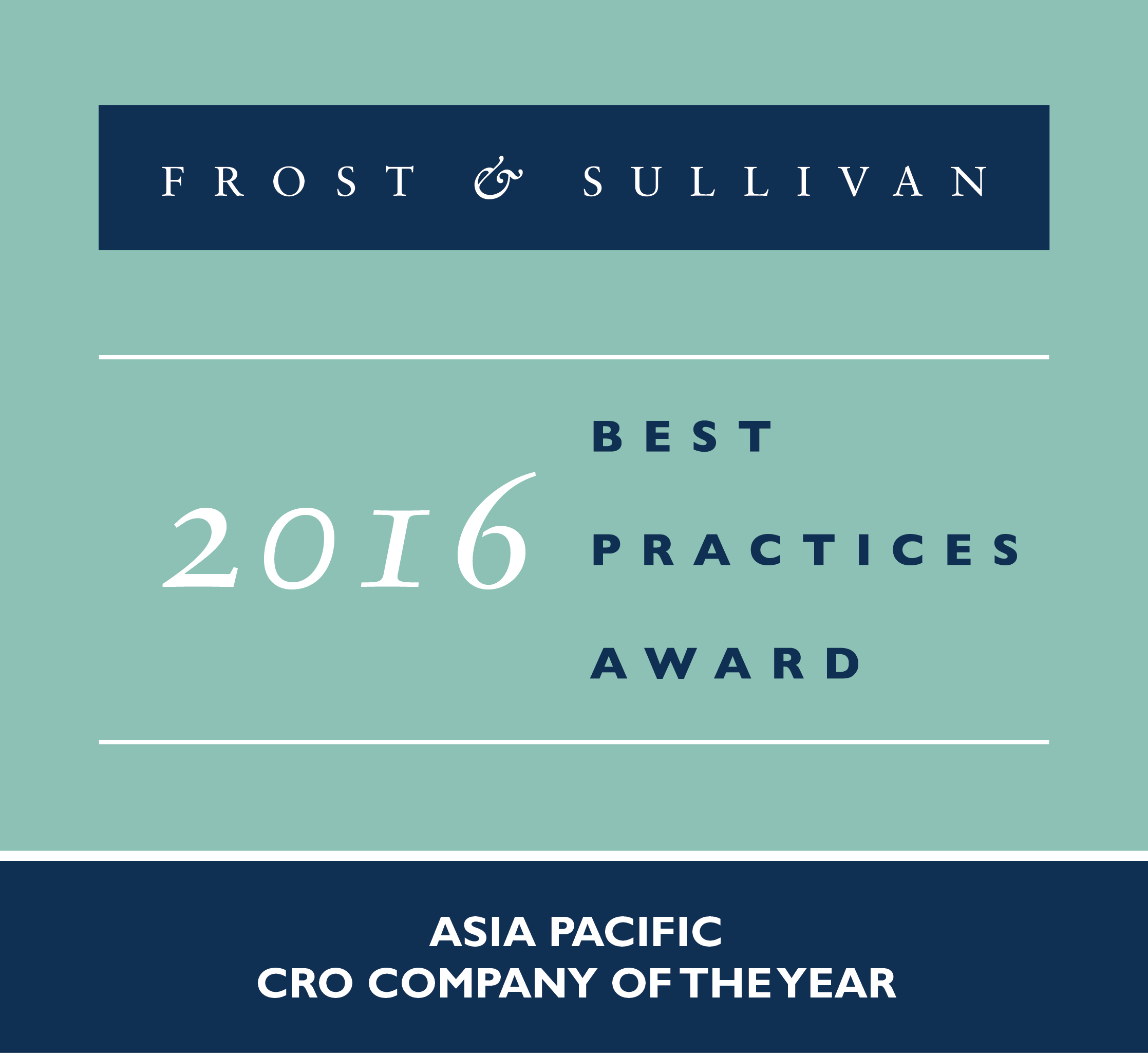 QuintilesIMS honored as 2016 Frost & Sullivan Asia Pacific CRO Company of the Year. (Photo: Business Wire)