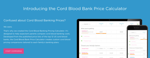 Compare cord blood banking costs now with the Pricing Calculator on the Americord website. (Graphic: Business Wire)