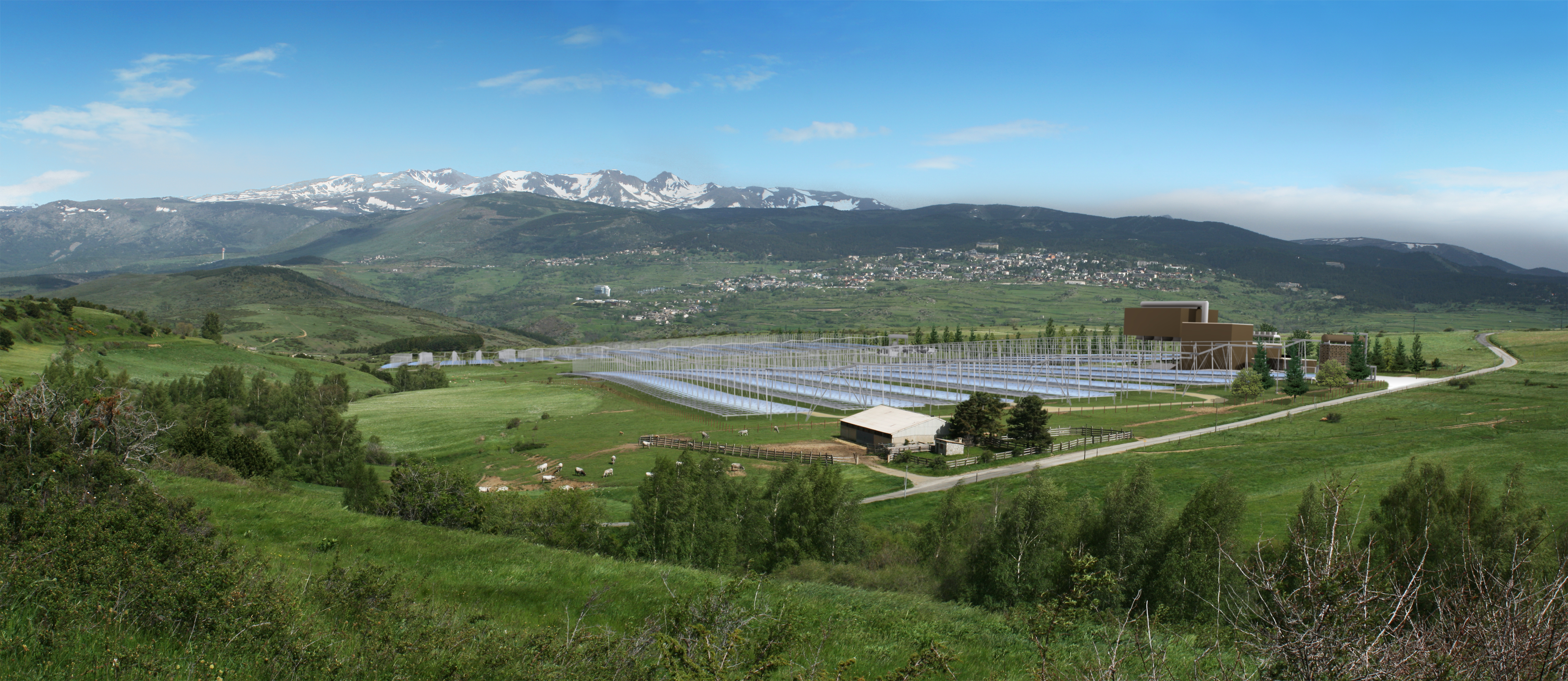 SUNCNIM world's first Fresnel solar thermodynamic power plant with the capacity to store several hours of energy. Copyright CNIM