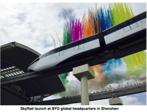 SkyRail launch at BYD global headquarters in Shenzhen (Photo: Business Wire)