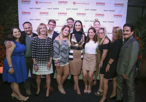 Global superstar Katy Perry celebrates with the five lucky winners and their guests of the Staples for Students Sweepstakes at the Winners VIP Celebration on Thurs., Oct. 13, 2016, in Los Angeles. One grand prize winner received a $50,000 scholarship and a trip to Los Angeles to meet Katy Perry, along with four first prize winners and their guests. The sweepstakes was part of a campaign that raised more than $330,000 in Staples stores in addition to the $1 million initial donation from Staples that helped 787 teacher and impacted 96,609 students. (Casey Rodgers/AP Images for Staples)
