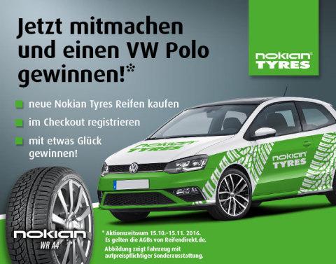ReifenDirekt.de und Nokian verlosen einen VW Polo im exklusiven Nokian Tyres Branding (Photo: Business Wire)