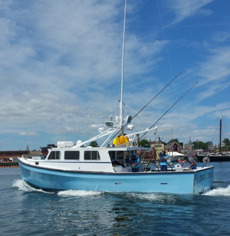 "Hot Tuna boat painted with Axalta Imron marine finishes to be featured on ""Wicked Tuna"" television show. (Photo: Axalta)"