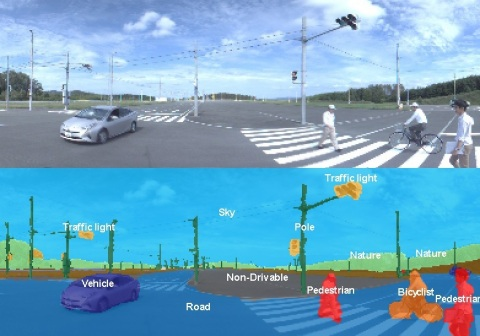 Concept of image recognition using DNN-IP Upper: Actual traffic situation Lower: Identified objects  ...
