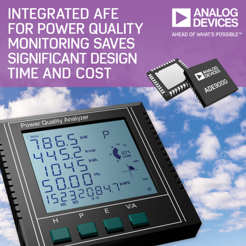 Highly Integrated AFE for Power Quality Monitoring Saves Significant Design Time and Cost Versus Custom Development (Photo: Business Wire)