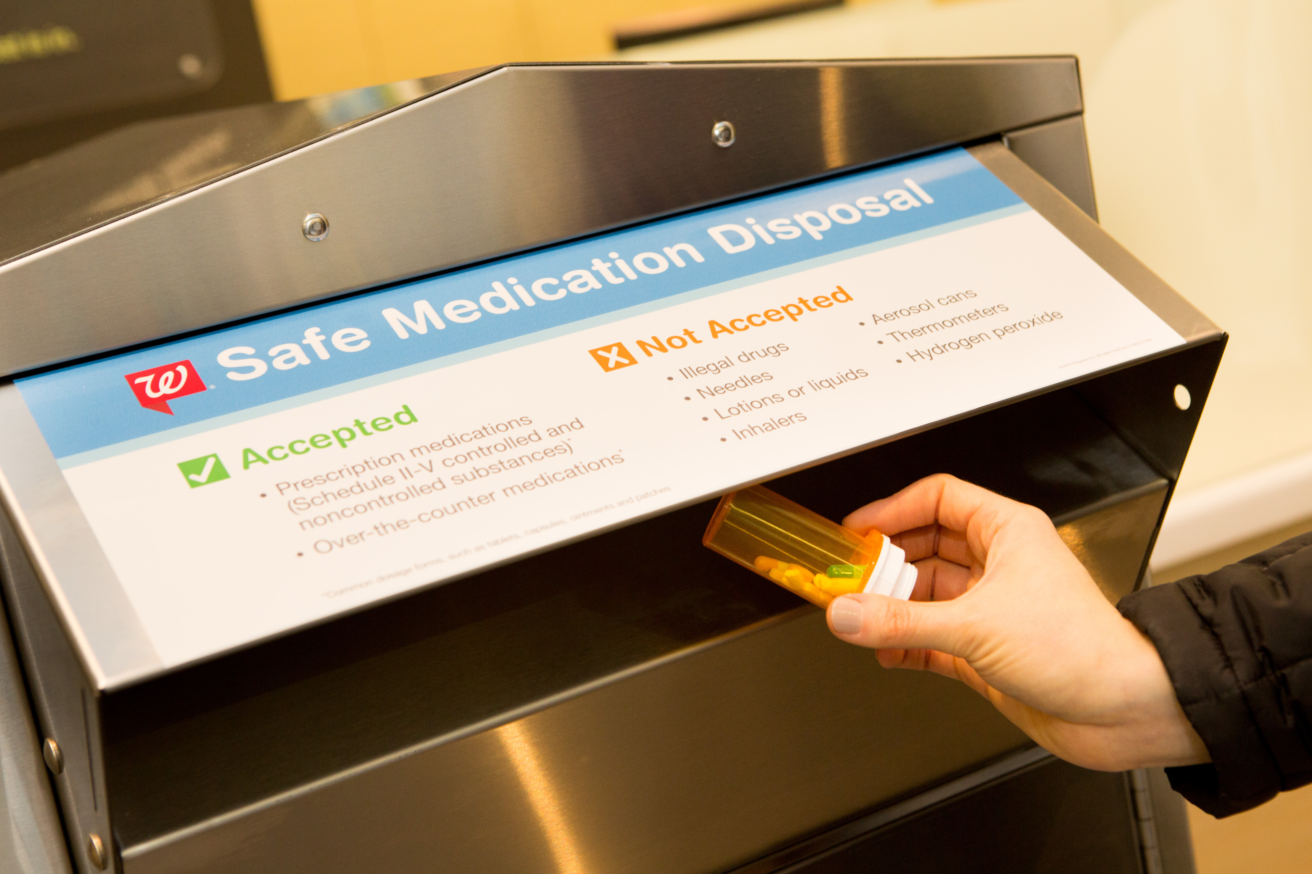 Walgreens collects more than 10 tons of unused medications as it reaches its goal of installing safe medication disposal kiosks in 500 pharmacies throughout U.S. (Photo: Business Wire)