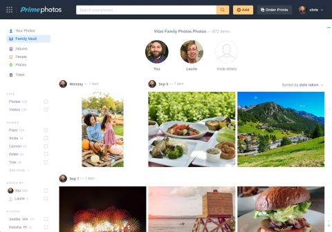 Amazon Prime Photos - Family Vault (Graphic: Business Wire)