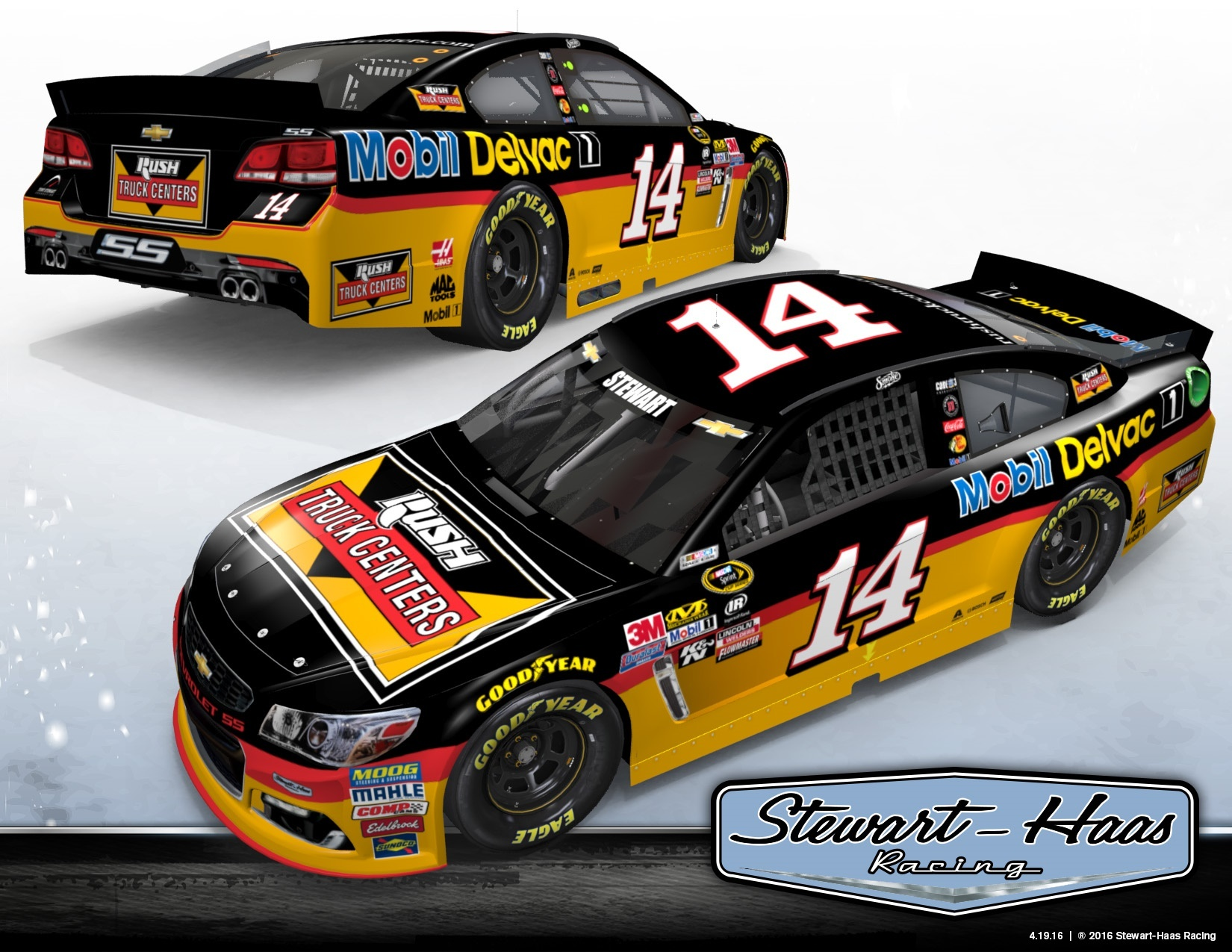 Second consecutive year of Tony Stewart's No. 14 Chevrolet featuring Rush Truck Centers on hood and Mobil Delvac 1 on the rear quarter panel and deck lid (Photo: Business Wire)