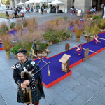 "Bagpiper Charles Rutan of Philadelphia plays the pipes next to a miniature golf course set up as part of ""the world's largest putting green"" event at Dilworth Park at City Hall Tuesday. A 104 foot and 2 inch putting green  at Dilworth at which former Eagle Hollis Thomas helped set a Guinness World Record was part of the event. The event was sponsored by The Famous Grouse, Scotland's number one Scotch. (Photo: Mark C. Psoras)"