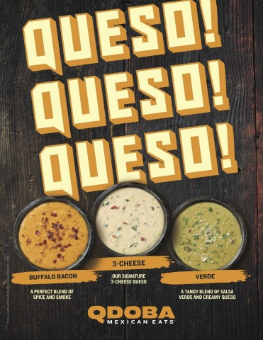 Qdoba Mexican Eats® is making Queso dreams come true today as it adds two Queso flavors – Buffalo Bacon Queso and Queso Verde – to the menu. (Graphic: Business Wire)