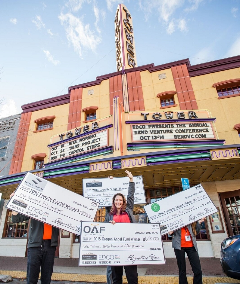 The Bend Venture Conference's big winner, Allie Magyar of Hubb, walked away with four checks totaling $2,515,000. (Photo: Business Wire)