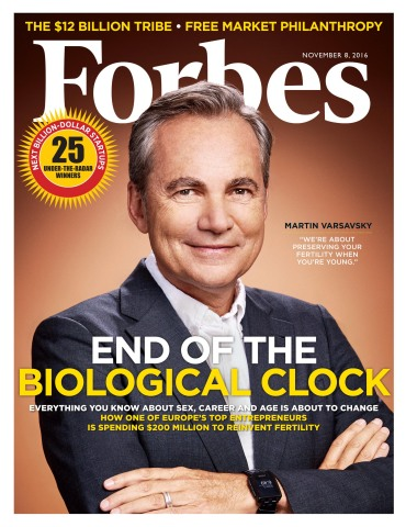Forbes Releases November 8, 2016 Issue of Forbes Magazine Featuring An Exclusive First Look Inside Prelude Fertility, the $200 Million Startup That Wants to Stop the Biological Clock (Photo: Business Wire)