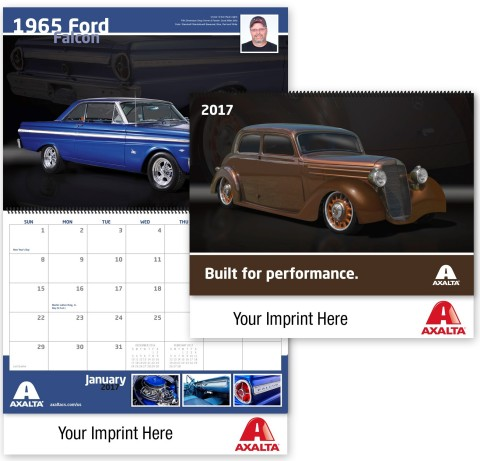 Axalta's Custom Finishes calendars can be customized with your business name. Order now at www.axaltacalendars.com. (Photo: Axalta)