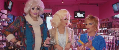 RuPaul's Drag Race favorites Alaska and Willam and drag legend Jackie Beat recreate a famous Golden Girls scene as a safer sex parody. (Photo: Business Wire)