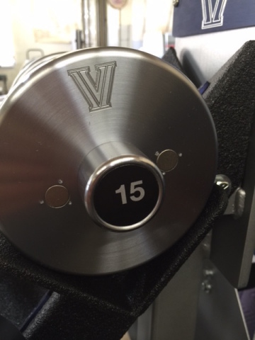 A CuLEAN copper dumbbell is now used in the strength training room of NCAA 2016 basketball champ Villanova to help fight the threat of infections. (Photo: Business Wire)