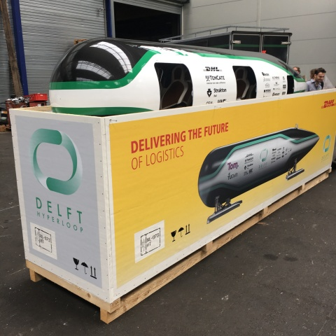 DHL is transporting the Delft Hyperloop in a specially-designed flight case from the Netherlands to California. (Photo: Business Wire)