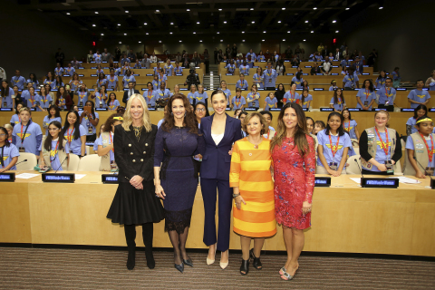 "Family and friends of The United Nations cheered on the designation of Wonder Woman as its Honorary Ambassador for the Empowerment of Women and Girls in a ceremony on Friday, October 21, a date that also commemorates the iconic Super Hero's official 75th anniversary. On hand to mark the historic occasion (from L to R) were DC Entertainment President Diane Nelson; Lynda Carter, star of the 1970s television series; Gal Gadot, star of the forthcoming ""Wonder Woman"" feature film; United Nations Under Secretary General Cristina Gallach; and Patty Jenkins, the director of ""Wonder Woman"" feature film. (Photo: Business Wire)"