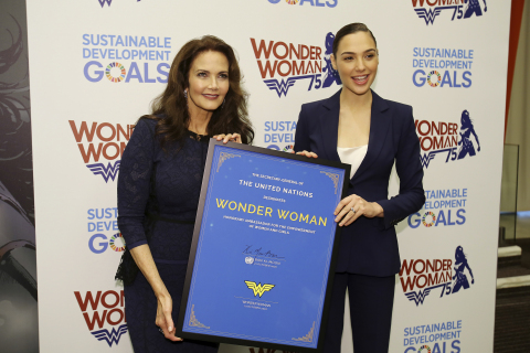 "The United Nations designated Wonder Woman as the UN Honorary Ambassador for the Empowerment of Women and Girls in a ceremony on Friday, October 21, a date that also commemorates the iconic Super Hero's official 75th anniversary. On hand to mark the historic occasion were Lynda Carter, star of the 1970s television series and Gal Gadot, the star of the forthcoming ""Wonder Woman"" feature film. (Photo: Business Wire)"