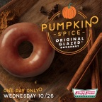 The Pumpkin Spice Original Glazed Doughnut is only available on October 26. (Photo: Business Wire).