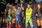 Ken Roczen, Ryan Dungey and Chad Reed celebrating on the Podium during the 2016 Monster Energy Supercross World Championship (Photo: Simon Cudby)