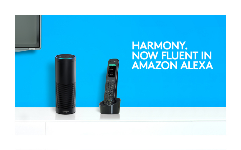 Control Logitech Harmony hub-based remotes with your voice, thanks to new Amazon Alexa skill. (Graphic: Business Wire)