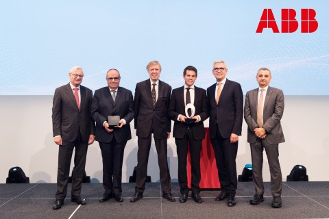 ABB Research Award in Honor of Hubertus von Gruenberg awarded with $300,000 grant, Switzerland's highest research award, for the first time (from left to right): Peter Voser, Chairman of the ABB Board of Directors; Professor Ronnie Belmans, KU Leuven; Hubertus von Gruenberg, former ABB Chairman; Jef Beerten, recipient of the award, KU Leven; Ulrich Spiesshofer, ABB CEO; Bazmi Husain, ABB Chief Technology Officer. (Photo: Business Wire)
