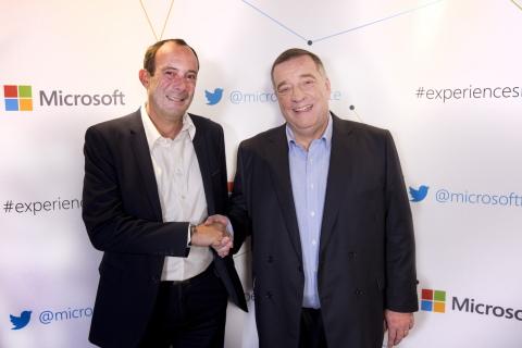 Partnership between Adents & Microsoft - Christophe Devins, Adents (left) et Bernard Ourghanlian, Mi ...