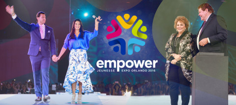 Jeunesse Co-Founders Randy Ray and Wendy Lewis along with Chief Visionary Officer Scott Lewis and his wife Isabel Lewis welcome attendees at annual Jeunesse EXPO Empower 2016 (Photo: Business Wire)
