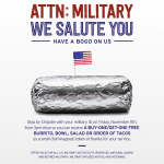 Military and Veterans can receive buy-one-get-one Chipotle on Veteran's Day, Nov. 11, 2016. (Photo: Business Wire)