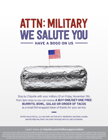 Military and Veterans can receive buy-one-get-one Chipotle on Veteran's Day, Nov. 11, 2016. (Photo:  ...