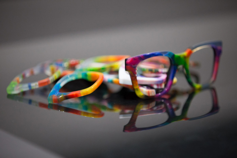 Using its Stratasys J750 3D Printer, Safilo can now quickly iterate a wide range of realistic, product-matching eyewear designs, allowing more creative experimentation and accelerating time to market (Photo: Business Wire)