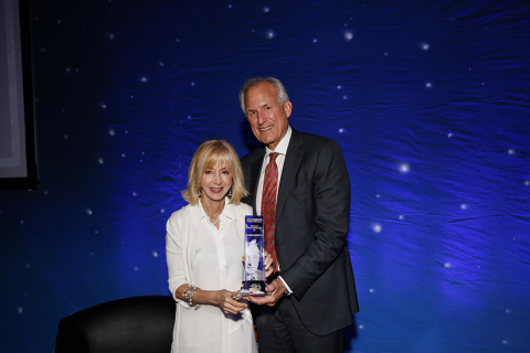 UCLA Anderson Dean Judy Olian presents retired Boeing chairman, president and CEO W. James McNerney, Jr., with 2016 John Wooden Global Leadership Award (Photo: Business Wire)
