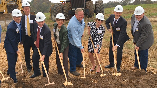 B-ROLL of ceremonial groundbreaking with shovels and hardhats (Video: Kevin Herglotz).