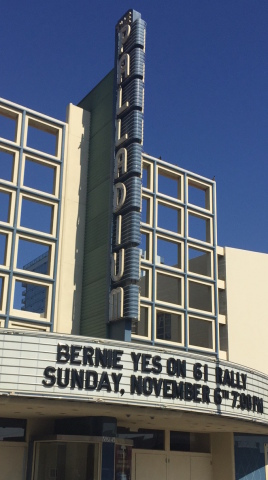 Two icons: US Sen. Bernie Sanders appears at the Hollywood Palladium for a 'Yes on Prop. 61' rally,  ...