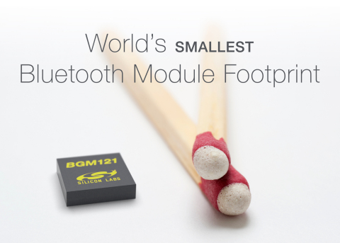 The Silicon Labs BGM12x SiP module enables the industry's smallest Bluetooth module footprint. (Graphic: Business Wire)