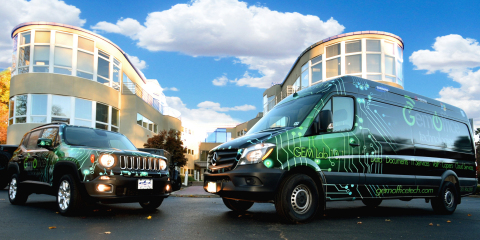 Brand new additions to GEM Office Tech's Mobile IT Fleet, the GEM Lab 10.1 and the GEM Micro Lab 5.2 pictured in front of GEM Office Technologies HQ (Photo: Business Wire)