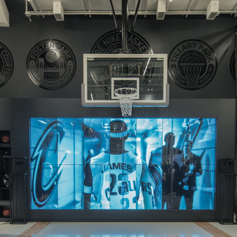 The Nike+ Basketball Trial Zone simulates the feel of the game, with five sensors circling the court, guiding consumers as they test product through custom drills and taking them on an immersive experience in New York's Dyckman or Brooklyn Bridge Parks. (Photo: Business Wire)