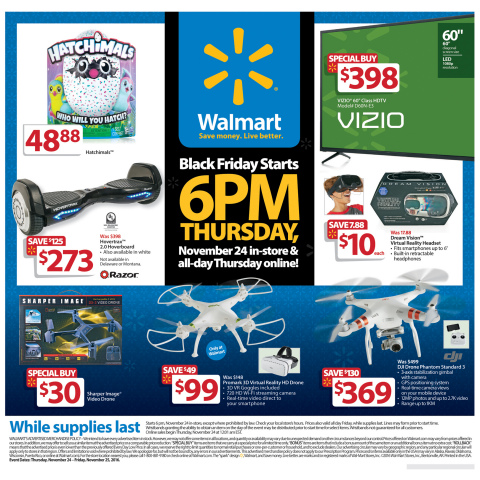Walmart's Black Friday event will offer something for everyone – from $1.96 movies to a $30 Sharper Image Video Drone and a $798 65-inch Samsung HDTV. (Photo: Business Wire)