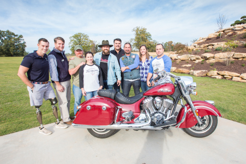 Zac Brown welcomed more than 100 veterans to Camp Southern Ground near Atlanta with a surprise acoustic performance to cap off a day of riding hosted by Indian Motorcycle. (Photo: Indian Motorcycle)