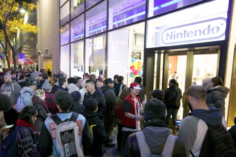 In this photo provided by Nintendo of America, fans line up to be one of the first to purchase the Nintendo Entertainment System: NES Classic Edition system, which comes loaded with 30 retro games, at Nintendo NY on Nov. 10, 2016.