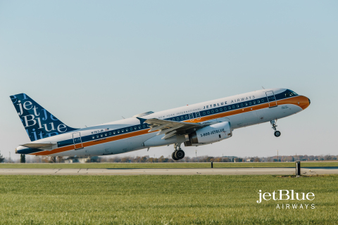 On November 11, 2016 JetBlue introduced a special RetroJet livery. (Photo: Business Wire)