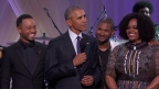 left to right: Terrence J, President Barack Obama, Usher, Jill Scott at BET's Love & Happiness concert (Photo: Business Wire)
