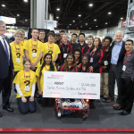 """Blake Moret, Rockwell Automation president and CEO, FIRST Tech Challenge (FTC) Team 6022, """"TBD,"""" FRC team FIRST Robotics Competition (FRC) Team 120, """"Cleveland's Team,"""" Don Bossi, president and CEO, FIRST and Jay Flores, Rockwell Automation global STEM ambassador. (Photo: Business Wire)"""