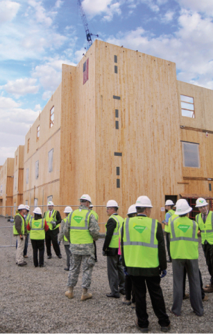 According to the updated WoodWorks Carbon Calculator, the new Candlewood Suites hotel at Redstone Arsenal, which is made entirely from cross-laminated timber, stores 1,276 metric tons of CO2 (equivalent) in its wood products. (Photo: Lendlease)
