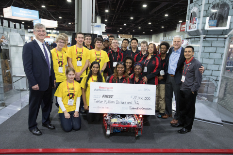 "Blake Moret, Rockwell Automation president and CEO, FIRST Tech Challenge (FTC) Team 6022, ""TBD,"" FRC team FIRST Robotics Competition (FRC) Team 120, ""Cleveland's Team,"" Don Bossi, president and CEO, FIRST and Jay Flores, Rockwell Automation global STEM ambassador. (Photo: Business Wire)"