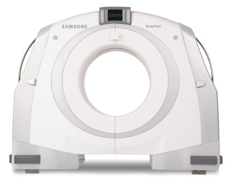 Promise Hospital of Florida at The Villages' new BodyTom CT scanner from Samsung NeuroLogica offers in-house scanning for patients who may have difficulty being transported to imaging facilities. The hospital, located in central Florida, used BodyTom in a pilot program for Promise Healthcare's 18 long-term acute care facilities; several more have already followed suit with recent installations in Ft. Myers and Miami. The combination of rapid scan time, flexible settings, and immediate image viewing makes Samsung NeuroLogica's portable 32-slice BodyTom CT scanner a valuable tool to any facility needing real-time imaging for long-term acute care, ER, ICU, NICU, oncology and other imaging-intensive clinical specialties. (Photo: Business Wire)