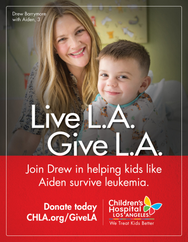 Actress Drew Barrymore is leading Children's Hospital Los Angeles' third annual Live L.A. Give L.A. fundraising drive to support care for thousands of young patients treated each year for life-threatening illnesses. (Photo: Business Wire)