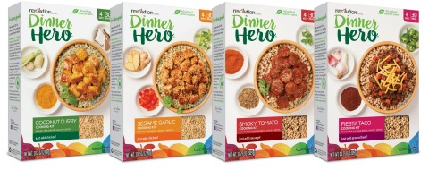 Dinner Hero is available in four chef-crafted flavors: Coconut Curry, Sesame Garlic, Smoky Tomato Sausage and Fiesta Taco (Photo: Business Wire)