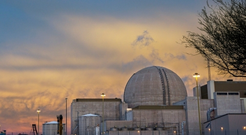 The sun rises behind Palo Verde Nuclear Generating Station Unit 3 as the unit reconnects to the elec ...