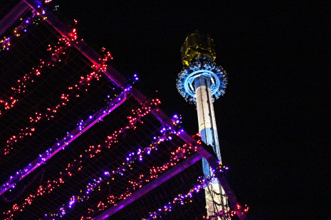 Get a spectacular view of the more than one million LED lights while towering 200 feet into the air on Acrophobia, one of the 20 holiday rides open during Holiday in the Park at Six Flags Over Georgia. The wintertime event also features nine thrilling roller coasters. (Photo: Six Flags Over Georgia)